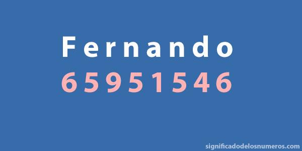 "Calcular el número del nombre ""Fernando"""