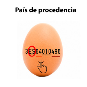 País de procedencia de los huevos