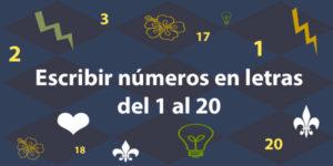 Números en letras del 1 al 20