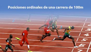 Posiciones ordinales de una carrera de 100m
